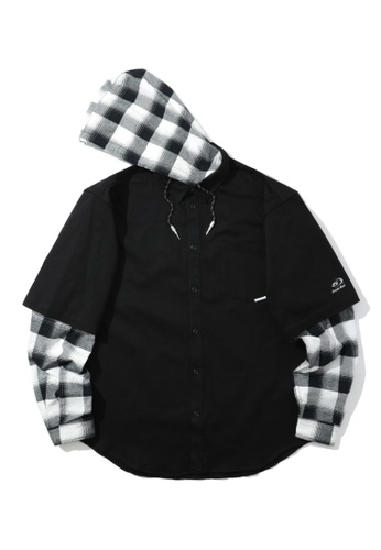 Fivecm black Layered hooded check shirt 31190AA3BC6431GS_1
