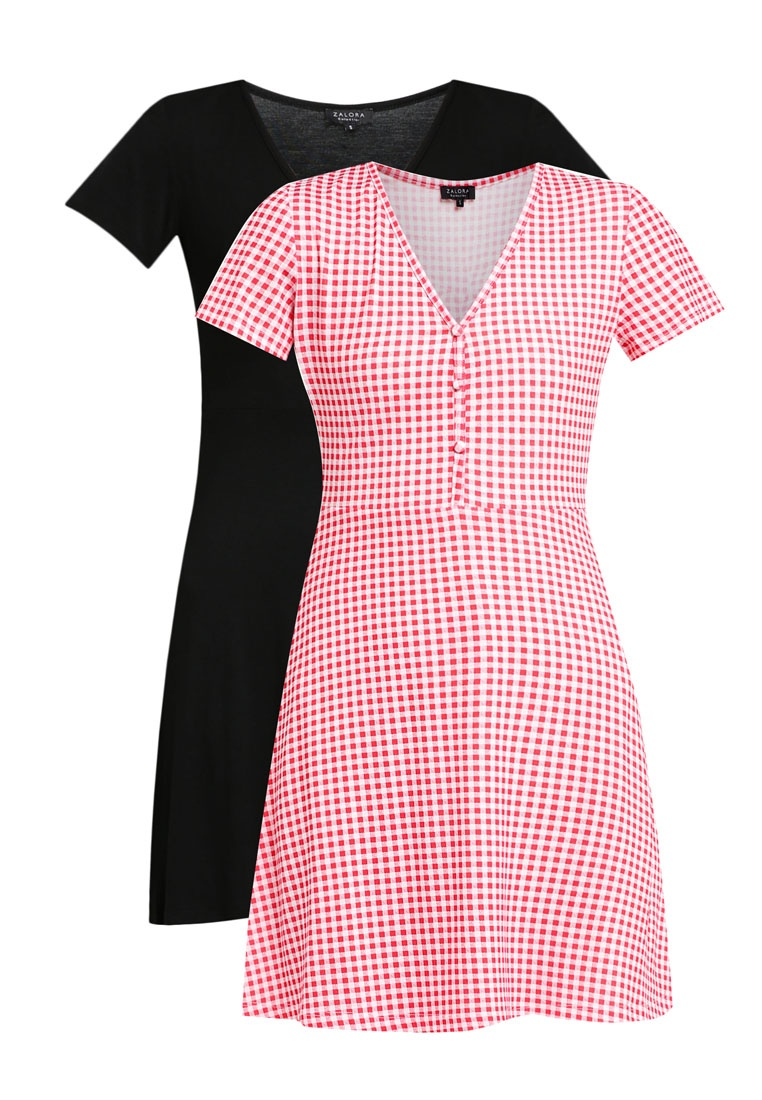 2 Pack Tea ZALORA Essential Black Dress BASICS Gingham Red qf64qP1