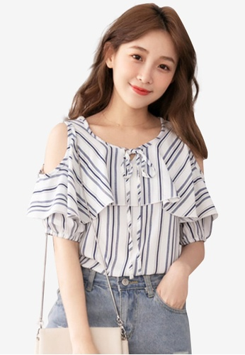 Eyescream navy Cold Shoulder Striped Top 302C3AA8290D5BGS_1