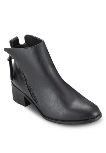 雙zalora 折扣碼拉鍊粗跟短靴, 女鞋, 鞋