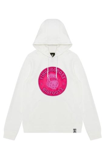 Fingercroxx white Bigfoot logo hoodie 1B37EAA978BA90GS_1