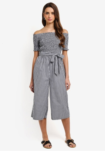 Dorothy Perkins black Gingham Shirred Jumpsuit 4946FAA2BED0F5GS_1