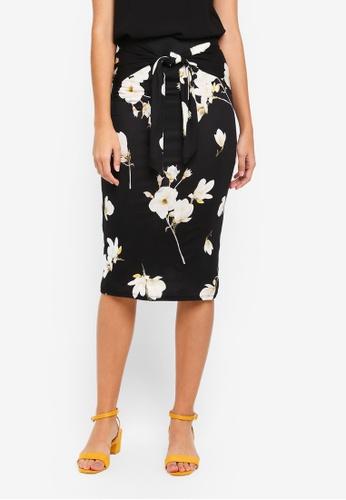Dorothy Perkins black Black Orchid Tie Pencil Skirt CBD14AABFFA091GS_1