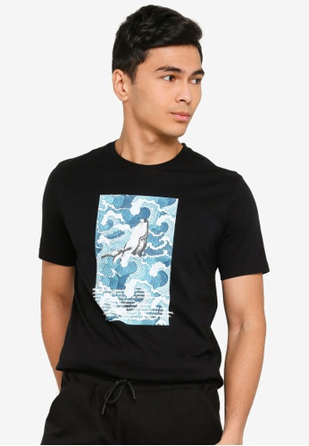 UniqTee black The Mighty Whale Graphic Tee 1623FAA07AB9F8GS_1
