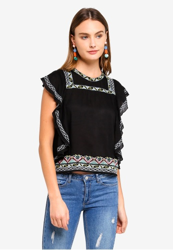 Brave Soul black Embroidered Top With Frill At Side Seam A5225AAA144C67GS_1