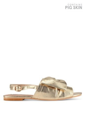 LOST INK gold Carla Eyelet Bow Flat Sandals DBC8FSH287FE22GS_1