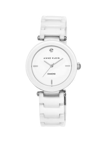 Anne Klein Ladies Diamond Dial Ceramic Watch Ak 1019wtwt