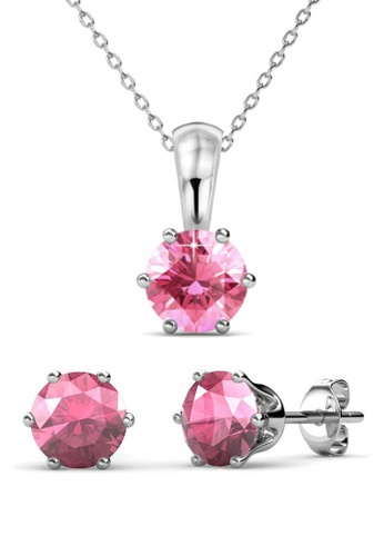 Her Jewellery pink Birth Stone Set (October) - Made with premium grade crystals from Austria 67ADAAC25213CCGS_1