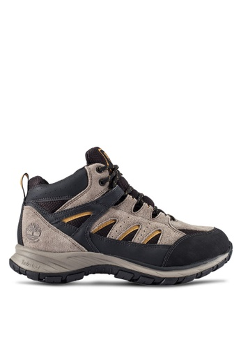 Timberland grey Sadler Pass Waterproof Leather And Fabric Mid Boots TI063SH0RP7IMY_1