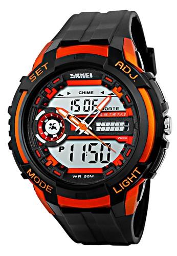 Digitec orange Skmei 3 Time - Jam Tangan Pria - Black Orange - Resin Strap - 1202-E 82690AC7694628GS_1
