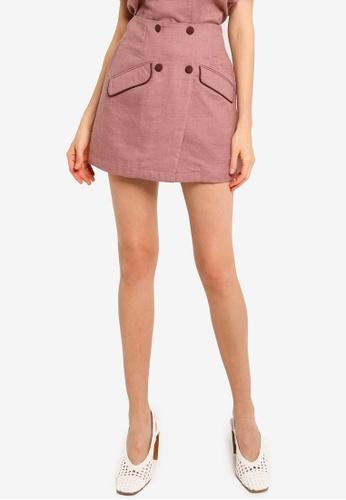 Heather pink Woven Mini Skort B7B1BAA7F08210GS_1