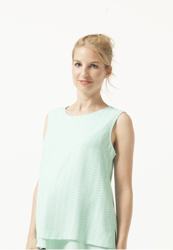 Bove by Spring Maternity green Sl Zita Chevy Nursing Top Mint Print 070FFAAE45016BGS_1