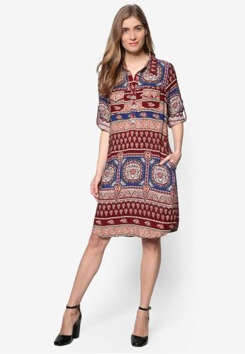 印花襯衫式洋esprit門市裝, 服飾, 洋裝