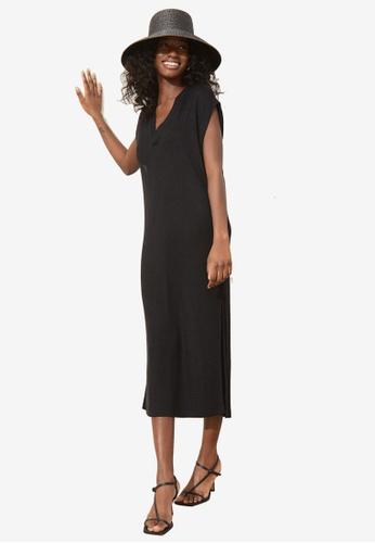 H&M black Knitted Midi Dress EC5DFAAE6E46E9GS_1