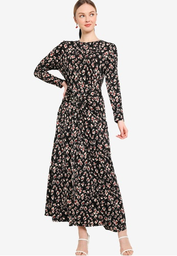 Lubna black and white STRETCH WRAP PRINTED  KURUNG D3F9FAA10DF786GS_1