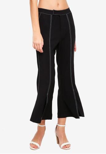 bYSI black Contrast Stitch Crop Pants 77C2FAA96561E9GS_1