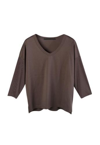 Giordano Ladies brown Chintz Mesh Sleeve Tee 9D6FAAAC4095BCGS_1