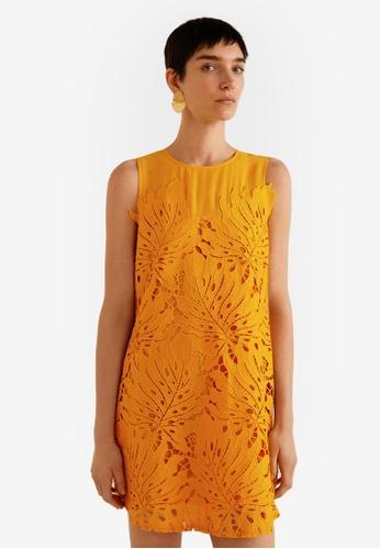 Mango yellow Guipure Applique Dress DA4A8AA364D2D3GS_1