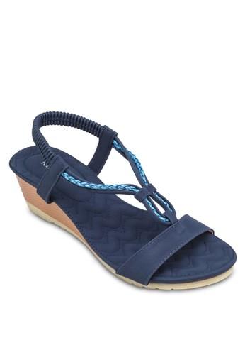 彈性踝esprit mongkok帶厚底涼鞋, 女鞋, 楔形涼鞋