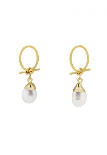 SKEDA gold Love Knot & Pearl Drop Earrings 7B25BAC672EDE4GS_1