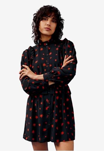 TOPSHOP black Black Star Print Shirt Dress 5BDD2AA3194DCAGS_1
