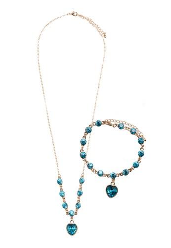 Eesprit hknjoy 水鑽心形吊墜首飾組合, 飾品配件, 項鍊