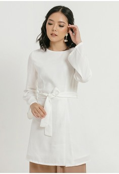 f900bab2e07640 Cloth Inc white Palma Tied Blouse in White 97B6BAA19C4283GS_1
