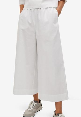 Mango white Cotton Culotte Trousers A0896AA651EC8AGS_1