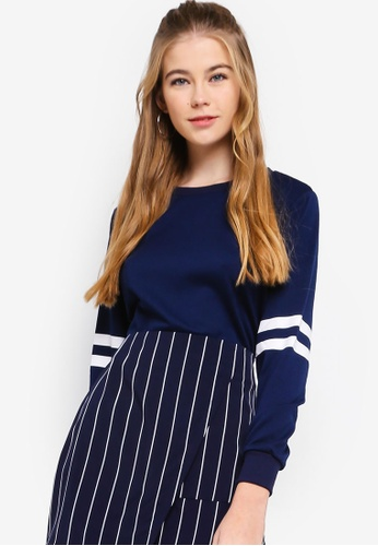 Something Borrowed navy Cropped Long Sleeves Sweater Top CAF98AAA867490GS_1