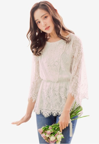 YOCO white Floral Laced Long Sleeve Blouse 875ACAA15821EBGS_1