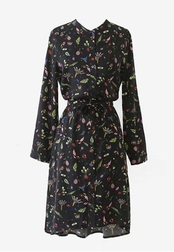 彩色圖案繫帶連衣裙, esprit 香港服飾, 及膝洋裝