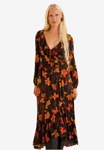 Mango brown Embossed Flower Gown D673CAAF34727AGS_1
