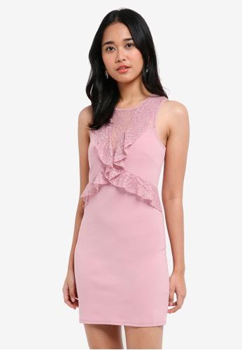 Miss Selfridge pink Blush Lace Ruffle Bodycon Dress 79A96AAF57D83DGS_1