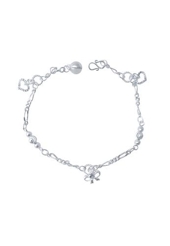 Elfi silver Elfi Genuine 925 Silver Bracelet SB-11M. Moon carved bead, Ribbon and Love. EL186AC78GNLMY_1