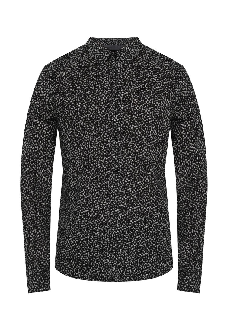 Black Burton Violet Paisley Menswear London Shirt Black Sleeve amp; Long Printed 5Sw0Ix4In