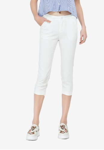 Hopeshow white Slim Fit Pants FB4B1AA7EBEAB7GS_1