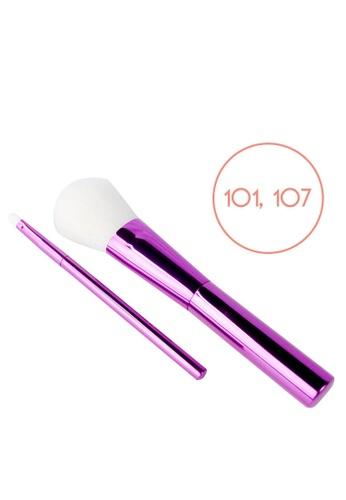 Ellana Mineral Cosmetics purple Iris Powder Brush (101) And Lip Brush (107) Duo 6C2E4BE4937858GS_1
