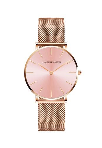 HANNAH MARTIN pink Hannah Martin Classic Satiny Pink Women Quartz Watch 38982AC563C88CGS_1