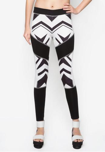 抽象印esprit分店花貼身長褲, 服飾, 長褲及內搭褲