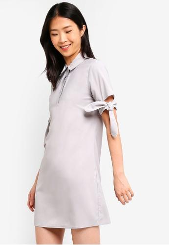 ZALORA BASICS grey Basic Contrast Sleeves Dress CBADBAA25B52AEGS_1