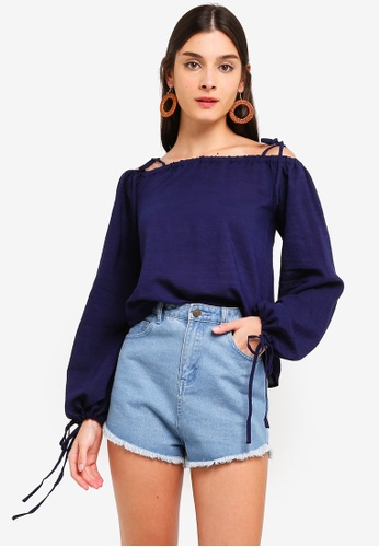 ZALORA navy Off Shoulder Puffed Sleeves Top 6EC10AA2214EE3GS_1