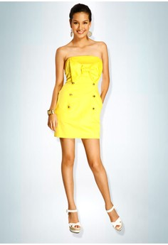 Devidasi Yellow Beverly Bow Cocktail Dress