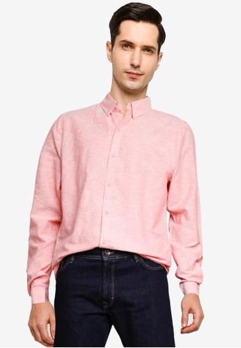 Cotton On 紅色 亞麻長袖襯衫 5C99DAA4C8415FGS_1