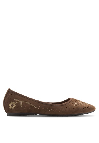 Louis Cuppers brown Embossed Ballerinas LO977SH47XQUMY_1