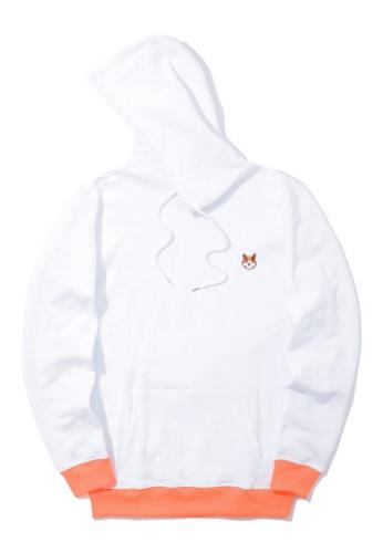 BLOCKAIT white Akita Ken contrast hoodie 60D33AA2B7E477GS_1