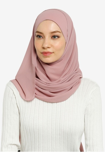 Hijabii pink Quin Pleated Scarf in Light Peach 80992AA80DF489GS_1