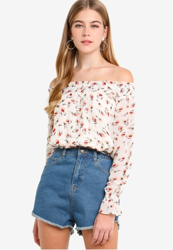 Something Borrowed white Off Shoulder Smocked Crop Top F572DAA9C7A808GS_1