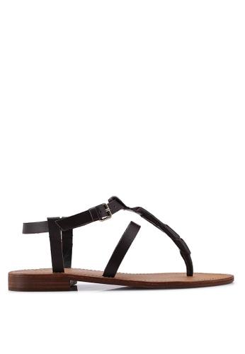 Mango brown Leather Straps Sandals 3D552SH6DACBC2GS_1