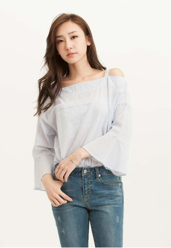 H:CONNECT white Pinstripe Frill Off-Shoulder Top ABDEDAAAEFFBF3GS_1