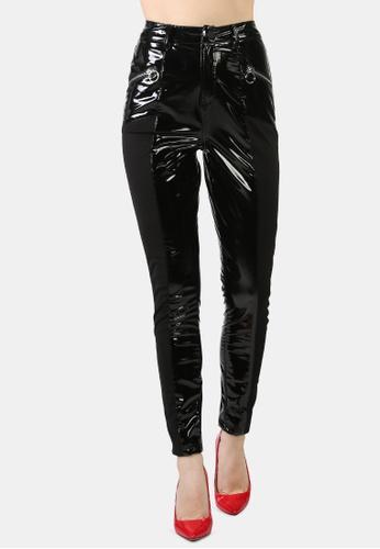 London Rag black Patent Faux Leather Shiny Pants 2B3E6AA0A3C3E0GS_1